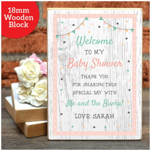 Personalised Baby Shower Welcome Sign Decoration PINK BLUE or UNISEX Girl Boy