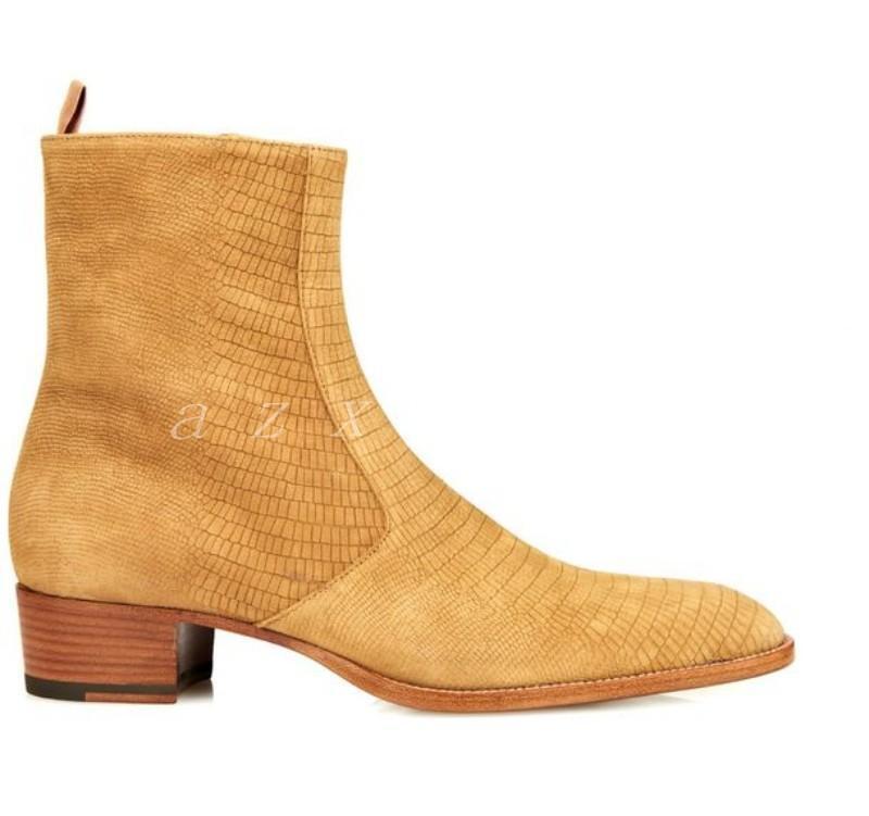 Zapatos de Cuero Gamuza US5-12 CALIENTE para Hombre Western Cowboy Alta top Chelsea Botín