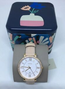 Fossil-Jacqueline-Glitz-Crystals-White-Dial-Pink-Leather-Women-039-s-Watch-ES4303