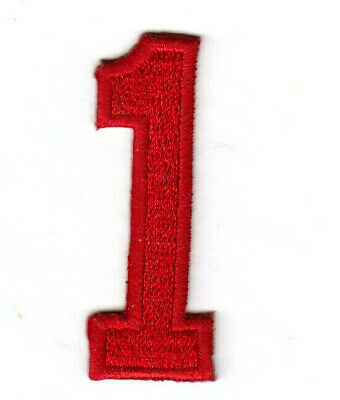 "Red Number /""2/"" NUMBERS - Iron On Embroidered Applique//Numbers 1 7//8/"""