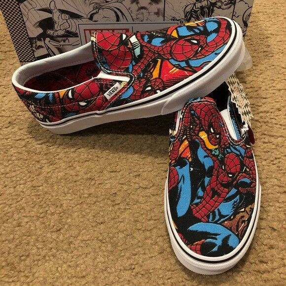 a1a6aeb1a5ab Men VANS Marvel Classic Slip on Spiderman SNEAKERS Red Blue Size 9 for sale  online