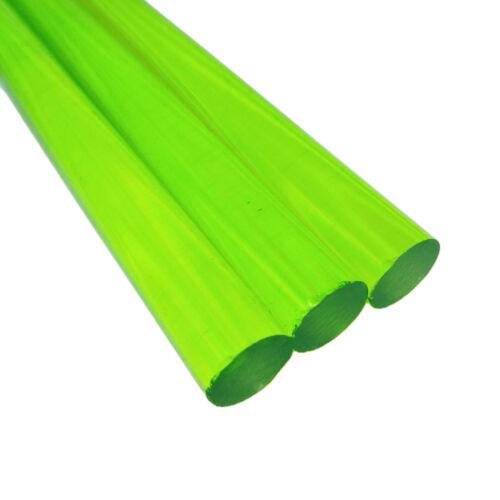 "13"" Long Green Acrylic Plexiglass Lucite Plastic Rod US Stock 3pcs 14mm Dia"