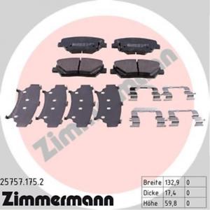 Scheibenbremse Vorderachse ZIMMERMANN 25757.175.2 Bremsbelagsatz