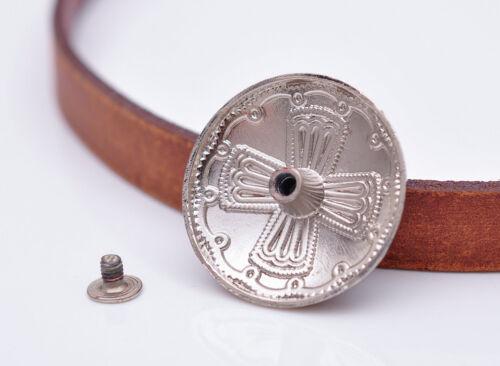 10pc 29MM Silver Blue Bead Windwill Cross Engraved DIY Craft Saddle Conchos