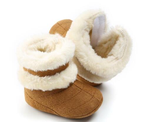 Newborn Baby Boy Girl Pram Shoes Infant Faux Fur Warm Boots Winter Snow Booties