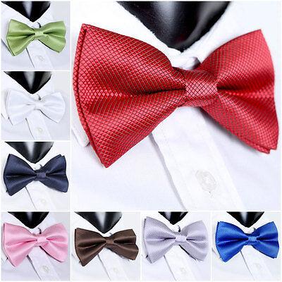 Men Tuxedo Bowtie Neckwear Wedding Party Bow Ties Necktie Pre-Tied Solid Color