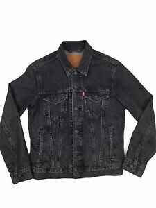 Levis Denim Jacket Mens Small Black Stonewash Big E Vintage Retro Style Trucker