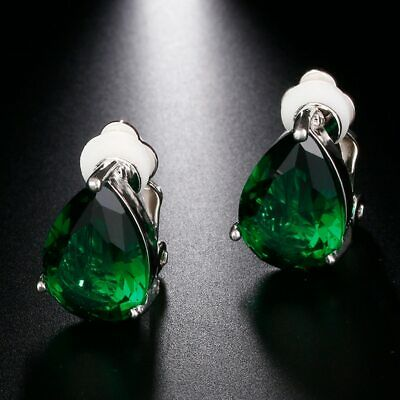 18k White Gold Plated Genuine Emerald