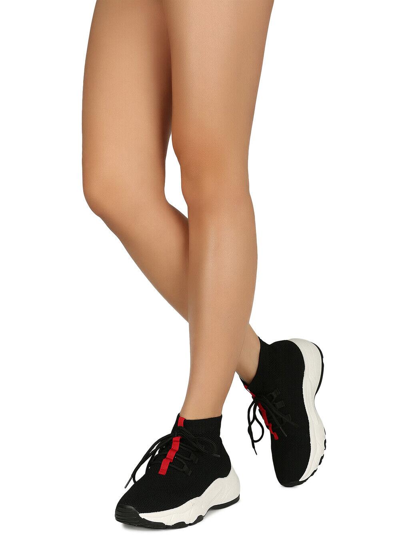Women Lace-Up Pull On Knit Platform Sneaker 18622