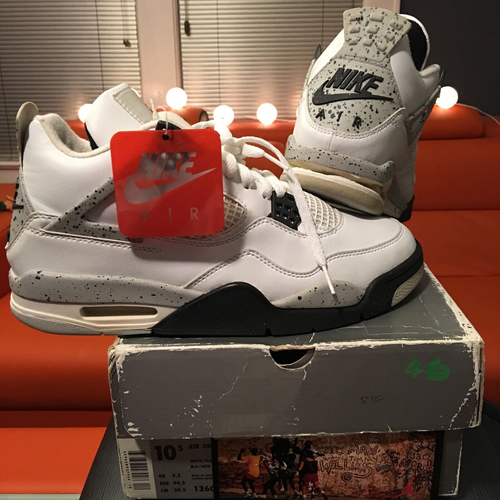 Air Jordan 4 iV White Cement Red 1999 2000 Bred Size 10.5 Nike Air Brand New