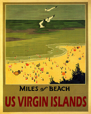 POSTER MILES OF BEACH US VIRGIN ISLANDS SUN SUMMER TRAVEL VINTAGE REPRO FREE S//H