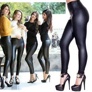 2de98e0022 Womens Yoga Pants Sexy Wet Look Leggings Workout Gym Fitness Leather ...
