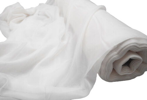 WHITE VOILE FABRIC FIRE RETARDANT 2.8M WIDTH SOLD PER ROLL 17M TO 79M SWAGGING