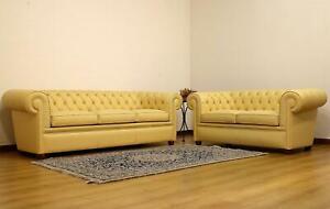 Details zu Design Chesterfield Sofa 3+2 Gelb Couch Polster Leder Sofas  Wohnzimmer Sofa Neu