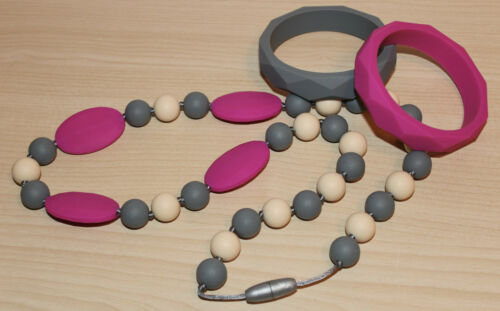 Little LoStelle Silicone Teether Teething Necklace Magenta Pink Gray 2 Bracelets