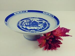 Asian Compote on Pedestal Base Blue & White