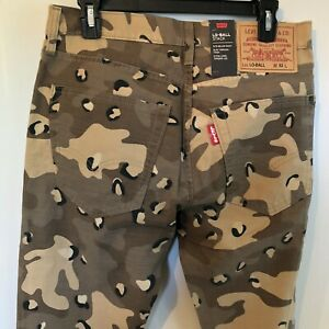 NWT-MEN-039-S-LEVIS-LO-BALL-STACK-LEOPARD-CAMO-4-WAY-RIPPED-SLIM-TAPERED-JEANS