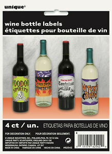 HALLOWEEN-BOTTLE-LABLES-X-4-WINE-BOTTLE-LABELS-PERFECT-FOR-ANY-HORROR-PARTY