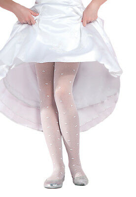 New Girls Wedding Occiasions WHITE HEART PATTERN Tights age 10-12 Height 146-152