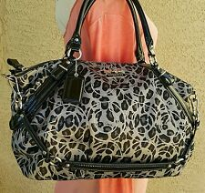 Coach Madison Sophia LRG ocelot sateen 17779 Satchel purse handbag black gray