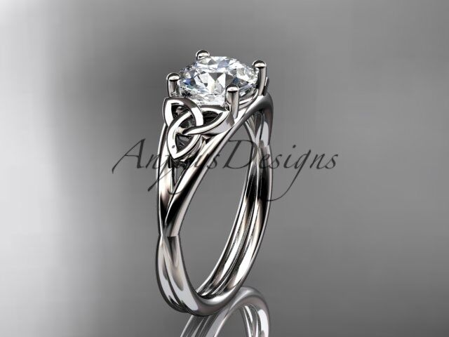 14k white gold celtic trinity knot wedding ring, engagement ring