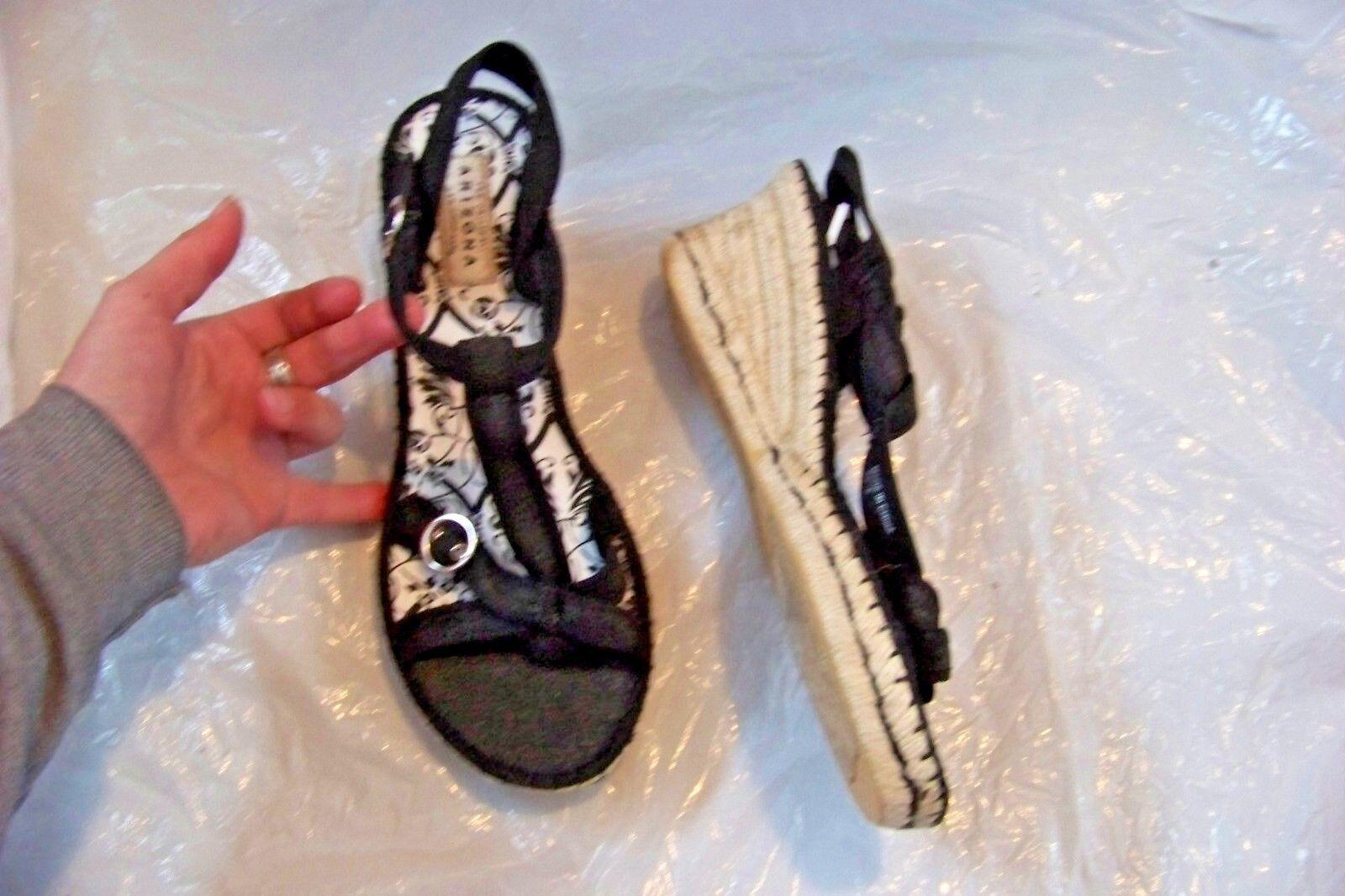 womens arizona black size fabric t-strap wedge heels shoes size black 9 1/2 524342