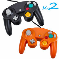 2 Brand New Controller for Nintendo GameCube or Wii -- BLACK and ORANGE