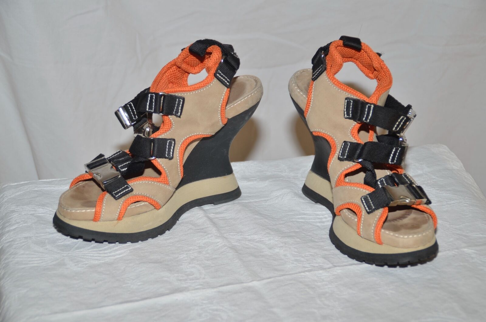 women Karon NY Size 8.5 M Beige & orange - Clasp - Platform, Wedge Heel Sandals