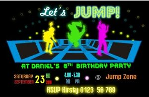 Image Is Loading 10 Personalised TRAMPOLINE Party Invites Invitations OR THANK