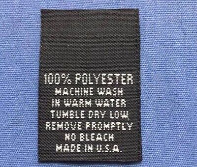 250Pcs MADE IN U.S.A FLAG Black Centerfold Label Single Sided Garment Tag Size