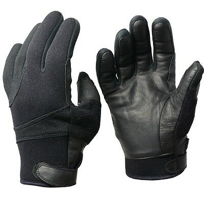 Black NEOPRENE GLOVES with Leather Palms - ALL SIZES - Kevlar Lined Assault Wear