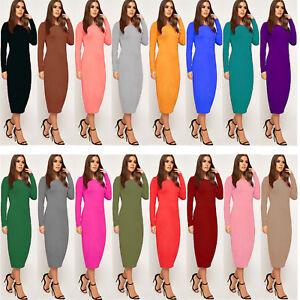 Women's Ladies Stretchy Long Sleeve Bodycon Plain Jersey Midi Dress 8-26