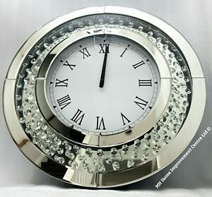Sparkly-Floating-Crystal-Sparkly-Large-Round-Silver-Mirrored-Wall-Clock-50-cm