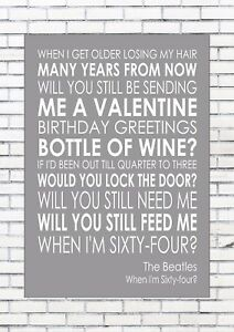 When I M 64 Sixty Four The Beatles Word Wall Art Words Print Canvas Lyric Lyrics Ebay