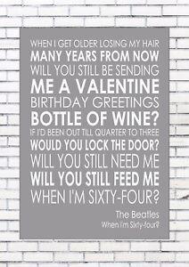 When I M 64 Sixty Four The Beatles Word Wall Art Words Print Canvas Lyric Lyrics Ebay