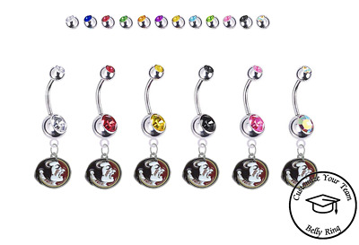 Pick Your Color FSU Florida State Seminoles NEW LOGO College Belly Navel Ring