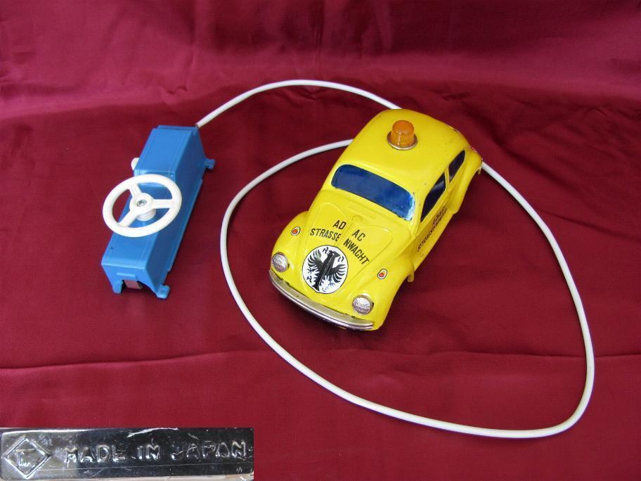 Vintage Japón Niño Metal Toy Car Vw Beetle asistencia en la carretera W remote Control