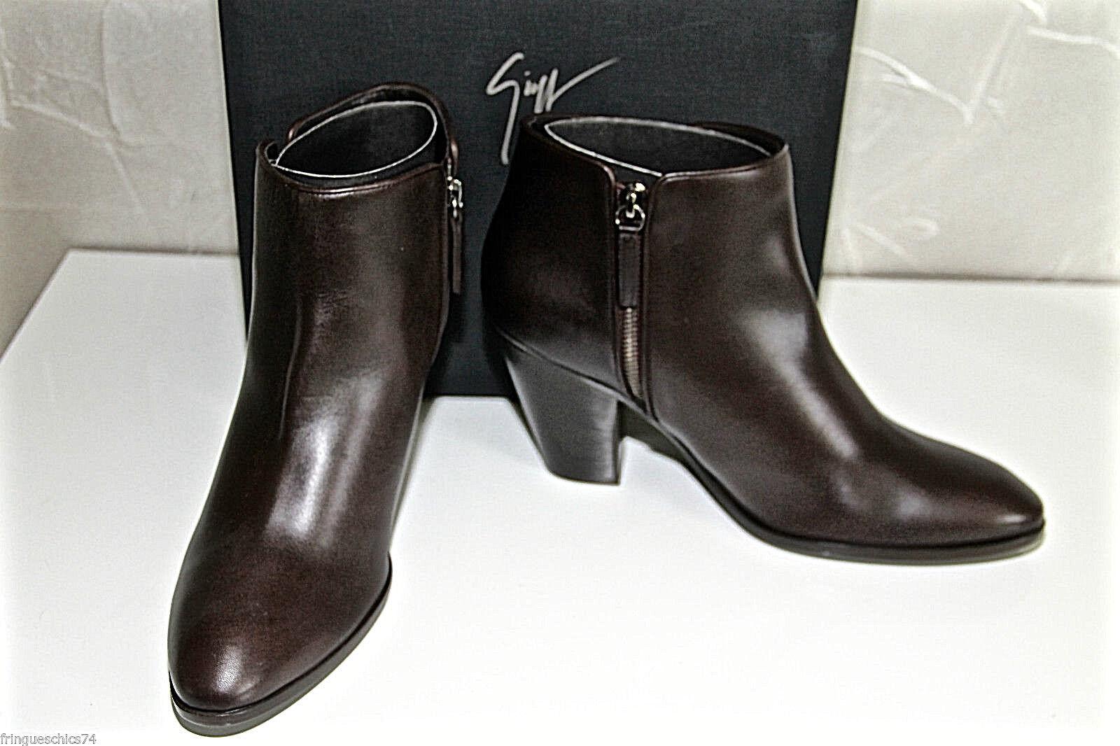 Luxueuses bottines cuir marrón marrón marrón GIUSEPPE ZANOTTI daddy 80 Talla 37 VALEUR  barato y de alta calidad