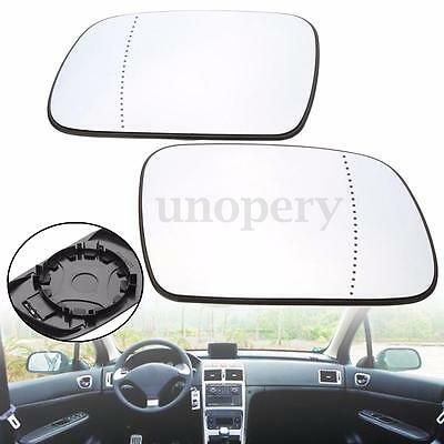 Left + Right Side Heated Wide Angle Wing Door Mirror Glass For Peugeot 307 407