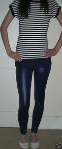 Ankle-Length-Leggings-Wet-Look-Shiny-NAVY-Size-6-8-10-12-14-16-18-20-22-24-S-M-L