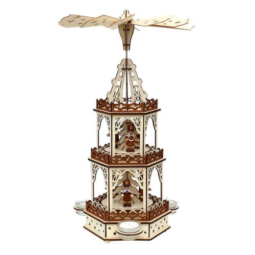 Holz Weihnachtspyramide für Teelichte Teelichtpyramide Weihnachtsdeko 52 1671