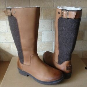 029bcb2f047 Details about UGG JANINA TALL CHESTNUT WATERPROOF LEATHER RAIN SNOW BOOTS  SIZE US 9.5 WOMENS