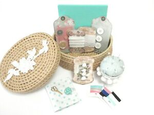 Shabby Chic Wicker Sewing Basket Vintage Buttons Needle ...