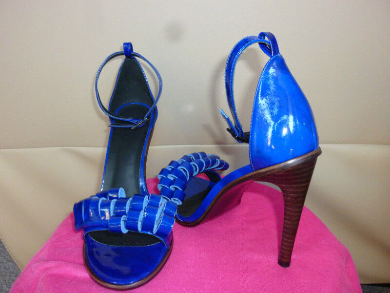 425 B.NEW TIBI TWISTED PATENT PATENT TWISTED LEATHER ANKLE STRAP4.5IN HEELS SANDALS PUMPS 38/8 2b1300