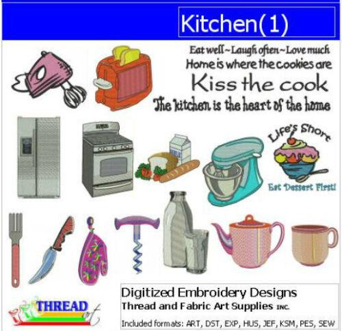 - 18 Designs Embroidery Design Set 9 Formats 1 Kitchen USB Stick
