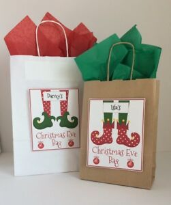 Personalised Christmas Xmas Bag Box Gift Elf White Kraft