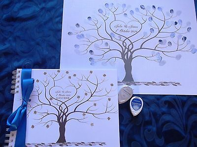 A3 Wedding FINGERPRINT Tree and MATCHING PERSONALISED WEDDING GUEST BOOK~ BOXED