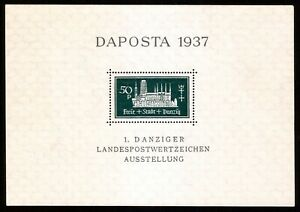 DR-Danzig-Nazi-Reich-Rare-WW2-Stamp-1937-Castles-Tower-Church-Daposta-Classic-SS