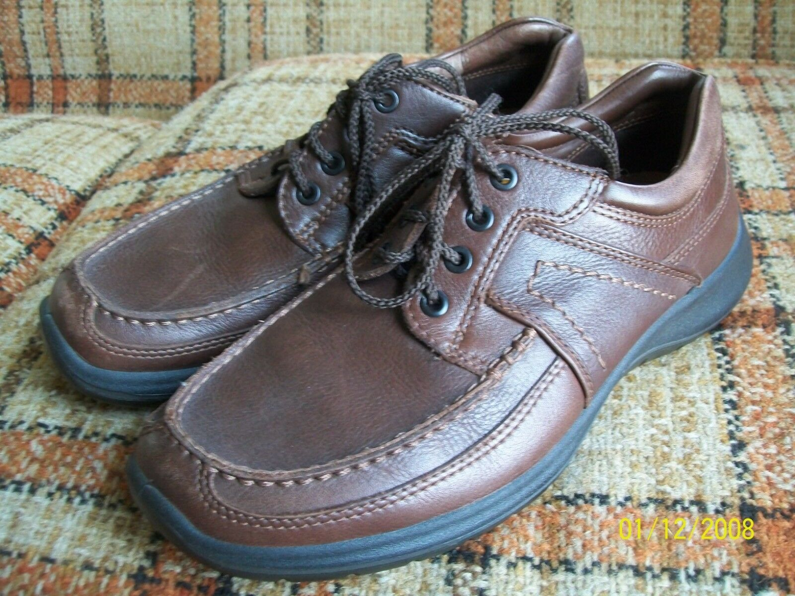 Ecco Mens 42 (USA 8-8.5) Brown Leather Mocc-Stitch Lace-Up
