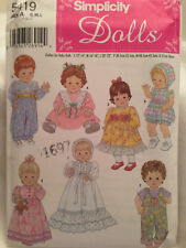 """Simplicity 8654 18/"""" Doll Clothes Prairie Pilgrim Indian Western Sewing Pattern"""